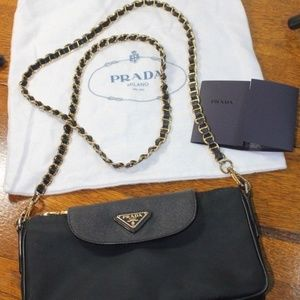 Prada Chain Crossbody Tessuto Saffiano Bandoliera